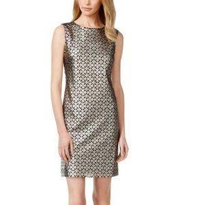 Tahari Faux Laser Cut Metallic Dress Size 16